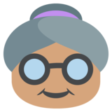 Old Woman: Medium Skin Tone on JoyPixels 2.0