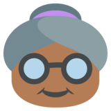 Old Woman: Medium-Dark Skin Tone on JoyPixels 2.0