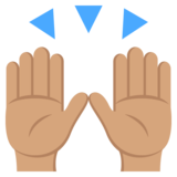 Raising Hands: Medium Skin Tone on JoyPixels 2.0