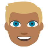 Person: Medium-Dark Skin Tone, Blond Hair on JoyPixels 2.0