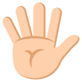 Hand with Fingers Splayed: Medium-Light Skin Tone on JoyPixels 2.0