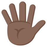 Hand With Fingers Splayed: Dark Skin Tone on JoyPixels 2.0