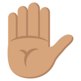 Raised Hand: Medium Skin Tone on EmojiOne 2.0