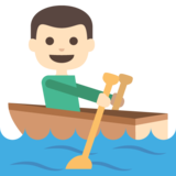Person Rowing Boat: Light Skin Tone on JoyPixels 2.0