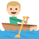 Person Rowing Boat: Medium-Light Skin Tone on JoyPixels 2.0