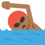 Person Swimming: Medium-Dark Skin Tone on JoyPixels 2.0