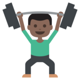 Person Lifting Weights: Dark Skin Tone on JoyPixels 2.0