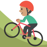 Person Mountain Biking: Medium Skin Tone on JoyPixels 2.1