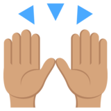 Raising Hands: Medium Skin Tone on JoyPixels 2.1