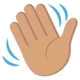 Waving Hand: Medium Skin Tone on JoyPixels 2.1
