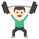 Person Lifting Weights: Light Skin Tone on JoyPixels 2.1