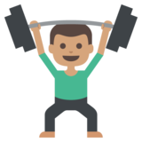 Person Lifting Weights: Medium Skin Tone on JoyPixels 2.1