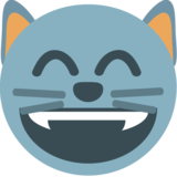 Grinning Cat with Smiling Eyes on JoyPixels 1.0