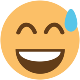 Grinning Face With Sweat on EmojiOne 1.0