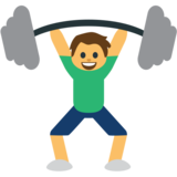 Person Lifting Weights on JoyPixels 1.0