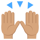 Raising Hands: Medium Skin Tone on JoyPixels 2.2