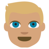 Person: Medium Skin Tone, Blond Hair on JoyPixels 2.2