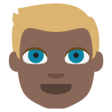 Person: Dark Skin Tone, Blond Hair on JoyPixels 2.2
