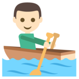 Person Rowing Boat: Light Skin Tone on JoyPixels 2.2