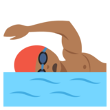 Person Swimming: Medium-Dark Skin Tone on JoyPixels 2.2