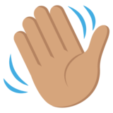 Waving Hand: Medium Skin Tone on JoyPixels 2.2