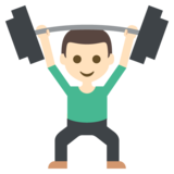 Person Lifting Weights: Light Skin Tone on JoyPixels 2.2