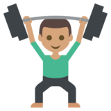 Person Lifting Weights: Medium Skin Tone on JoyPixels 2.2
