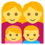 Family: Woman, Woman, Girl, Boy on EmojiOne 2.2.4