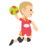 Person Playing Handball: Medium-Light Skin Tone on JoyPixels 2.2.4