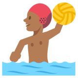 Person Playing Water Polo: Medium-Dark Skin Tone on JoyPixels 2.2.4