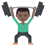 Person Lifting Weights: Dark Skin Tone on JoyPixels 2.2.4