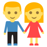 Woman and Man Holding Hands on JoyPixels 2.2.5