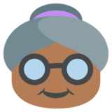 Old Woman: Medium-Dark Skin Tone on JoyPixels 2.2.5