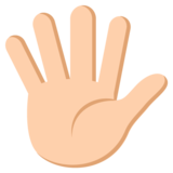 Hand with Fingers Splayed: Medium-Light Skin Tone on JoyPixels 2.2.5