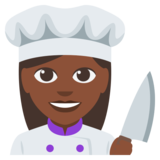 Woman Cook: Dark Skin Tone on EmojiOne 3.0