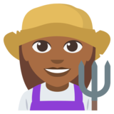 Woman Farmer: Medium-Dark Skin Tone on EmojiOne 3.0