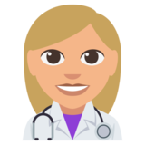 Woman Health Worker: Medium-Light Skin Tone on EmojiOne 3.0