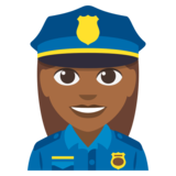 Woman Police Officer: Medium-Dark Skin Tone on JoyPixels 3.0