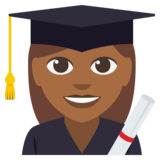 Woman Student: Medium-Dark Skin Tone on EmojiOne 3.0