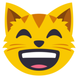 Grinning Cat with Smiling Eyes on JoyPixels 3.0