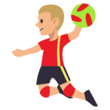 Person Playing Handball: Medium-Light Skin Tone on JoyPixels 3.0