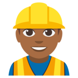 Man Construction Worker: Medium-Dark Skin Tone on EmojiOne 3.0