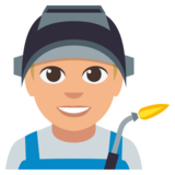 Man Factory Worker: Medium-Light Skin Tone on EmojiOne 3.0