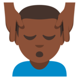 Man Getting Massage: Dark Skin Tone on EmojiOne 3.0