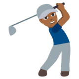 Man Golfing: Medium-Dark Skin Tone on JoyPixels 3.0