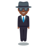 Person in Suit Levitating: Dark Skin Tone on JoyPixels 3.0