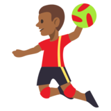 Man Playing Handball: Medium-Dark Skin Tone on JoyPixels 3.0