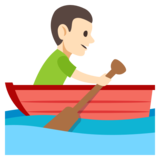 Man Rowing Boat: Light Skin Tone on JoyPixels 3.0
