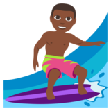 Man Surfing: Dark Skin Tone on JoyPixels 3.0