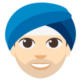 Man Wearing Turban: Light Skin Tone on JoyPixels 3.0